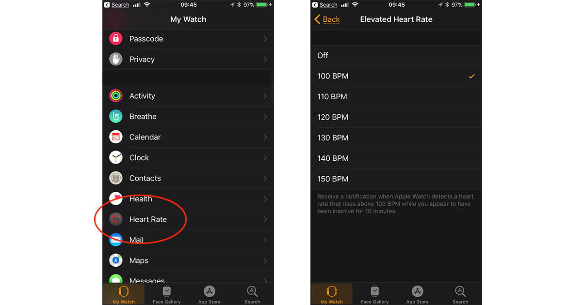 Watch app settings for Elevated Heart Rate alerts in watchOS 4 for Apple Watch