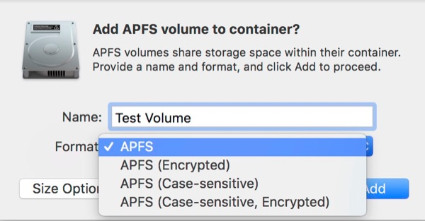 Adding an APFS Volume to an existing Container.