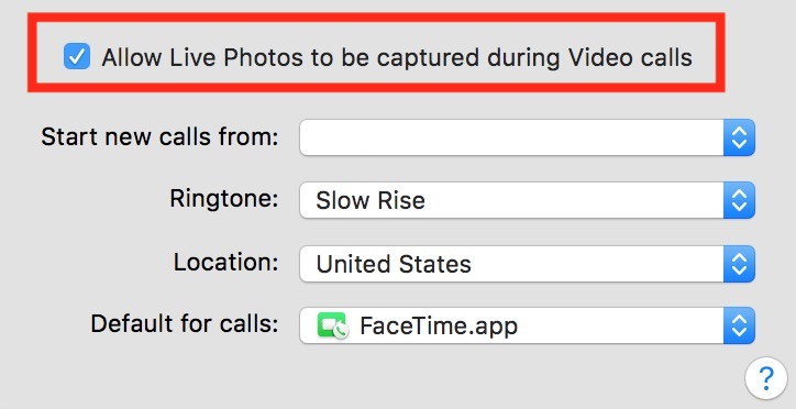 Checkbox to Turn Off in macOS FaceTime to disable Live Photos