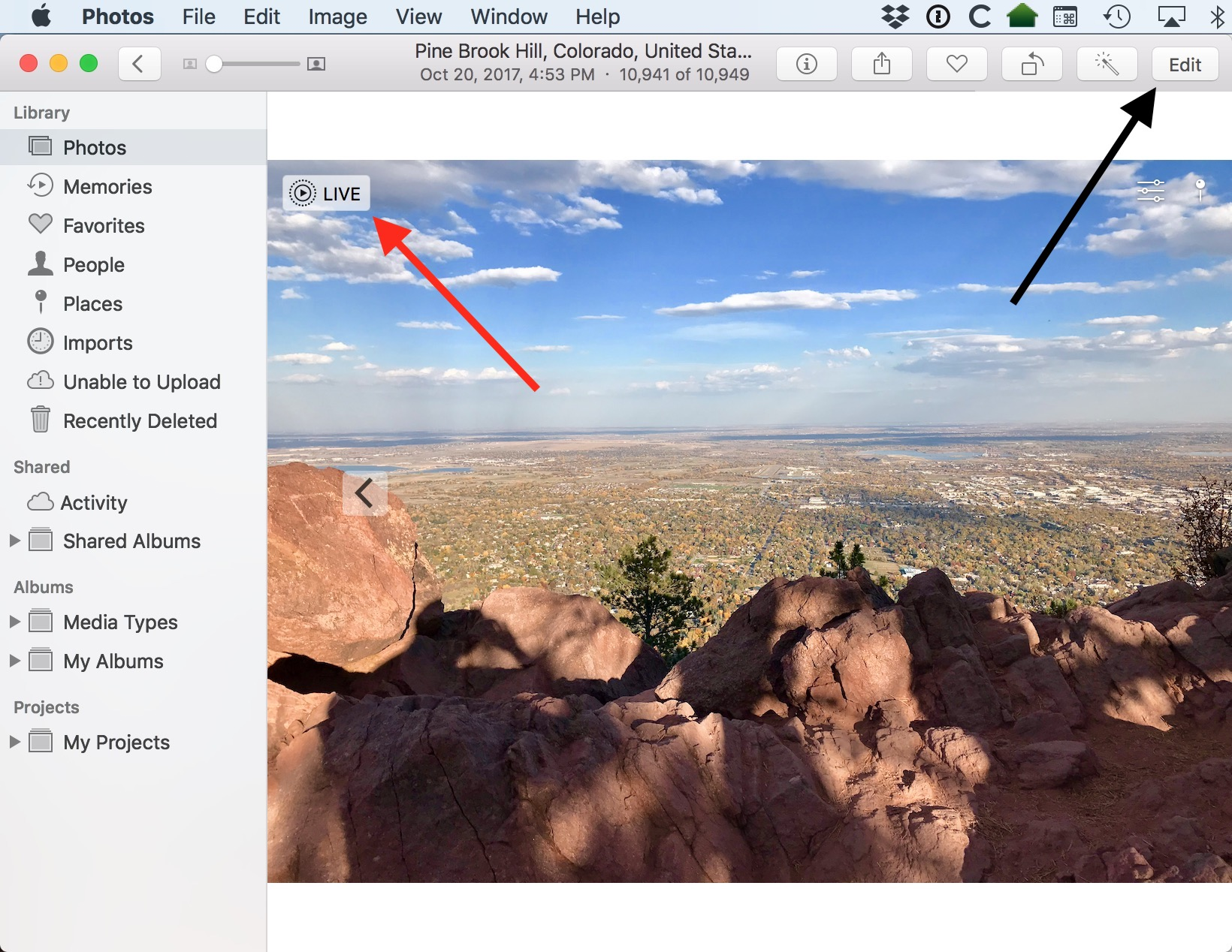 Edit Button in Photos' Window in macOS High Sierra lets you edit your Live Photos