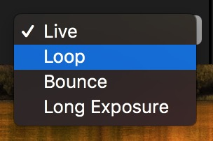 macOS Photos Live Photos editor Effects Drop-Down showing Loop, Bounce, Long Exposure