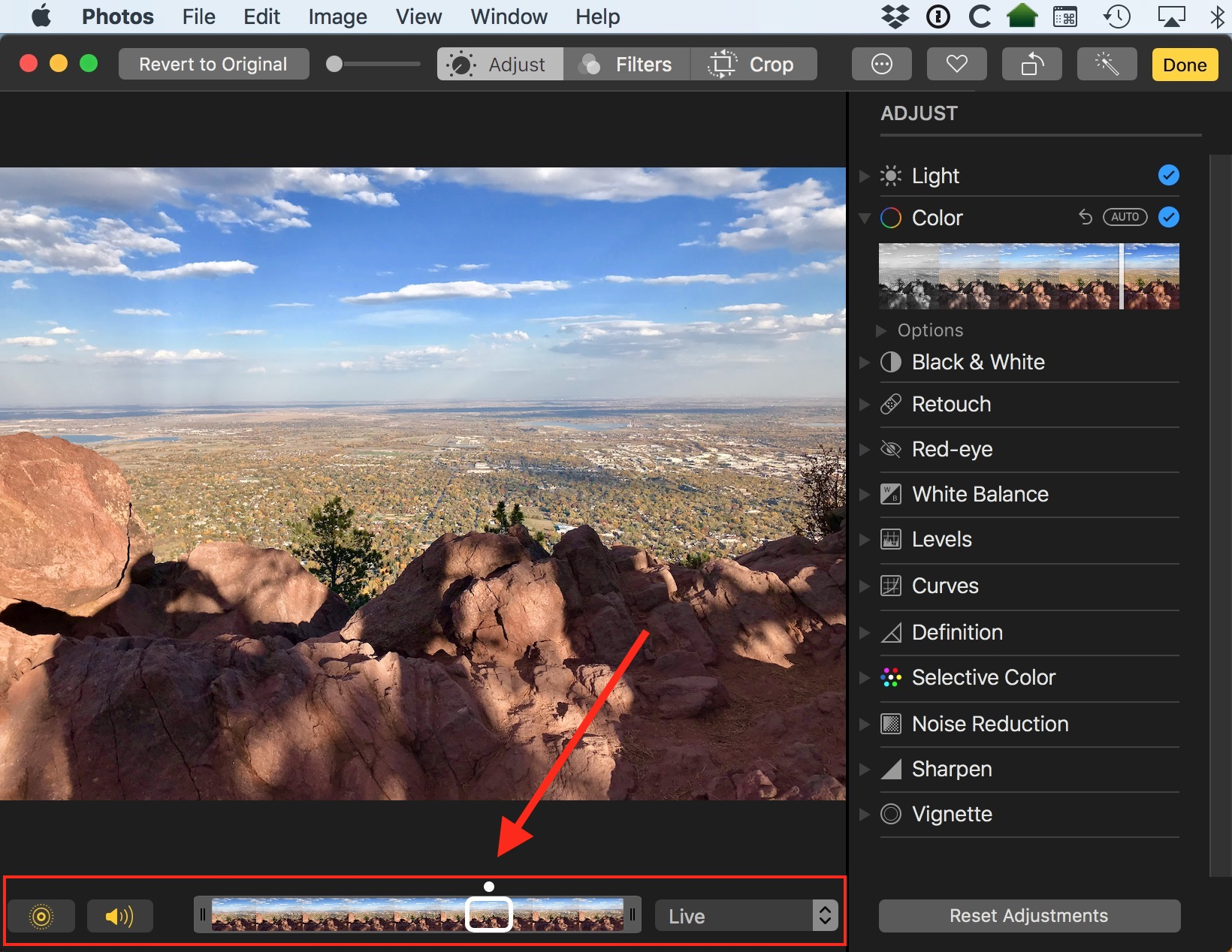 macOS High Sierra Live Photos Editing Tools in Photos app
