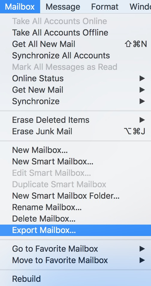 macOS Mail Mailbox Menu showing Export Mailbox
