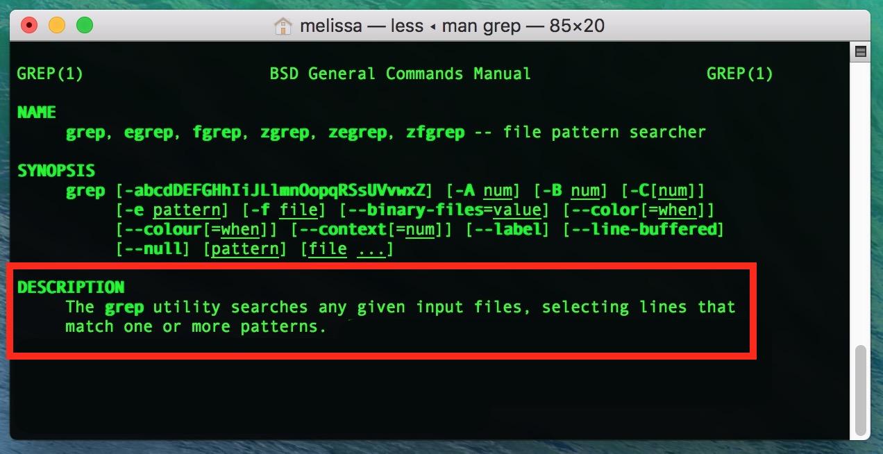 macOS Man Page on Grep