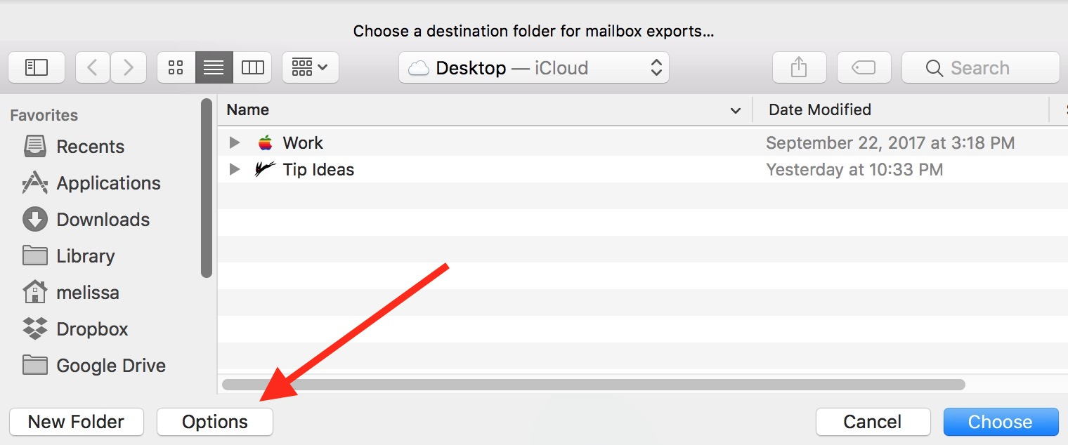macOS Mail Export Mail dialog Options Button