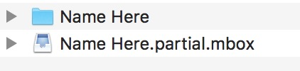 """macOS Mail Mailbox Export showing email export in progress with """"partial"""" in the file name"""