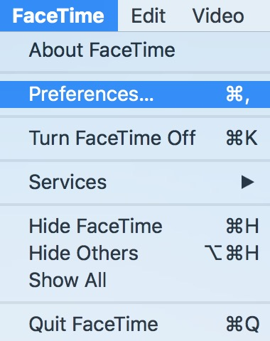 macOS FaceTime Menu showing Preferences