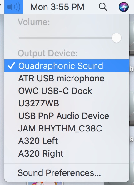 surround sound system in macos - selecting audio device