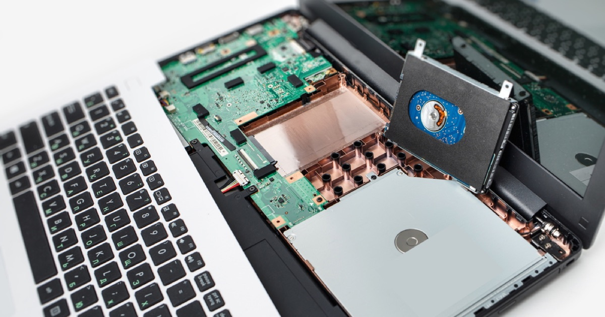 SSD in a notebook computer.