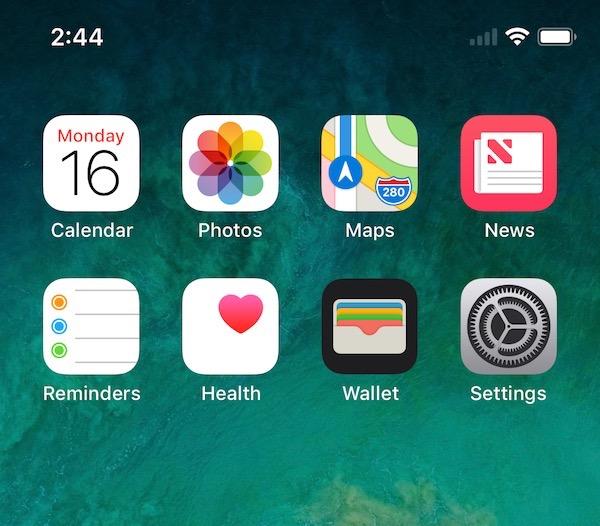 iPhone X screenshot