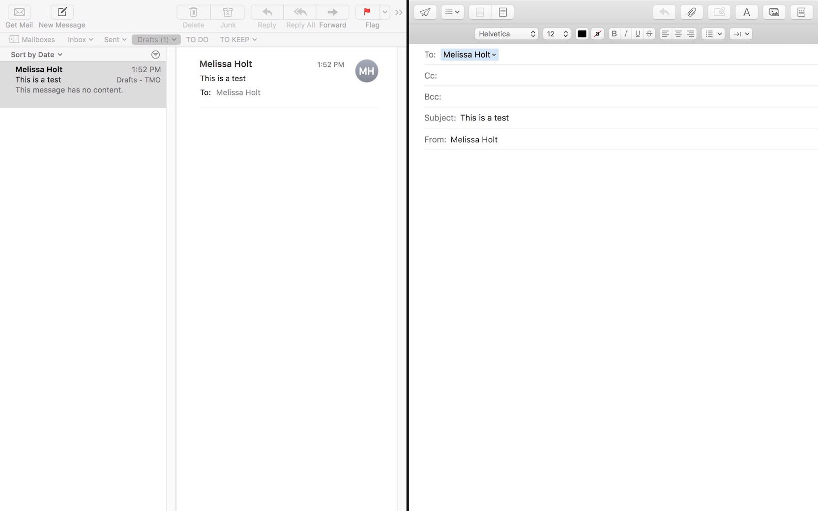 macOS High Sierra Mail in full screen Split Screen View