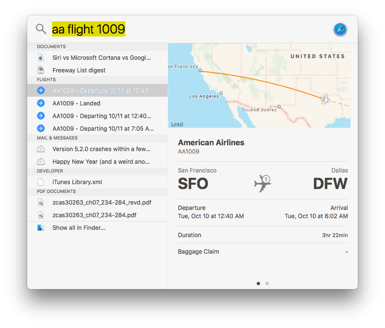 Spotlight can now show you flight tracking info!