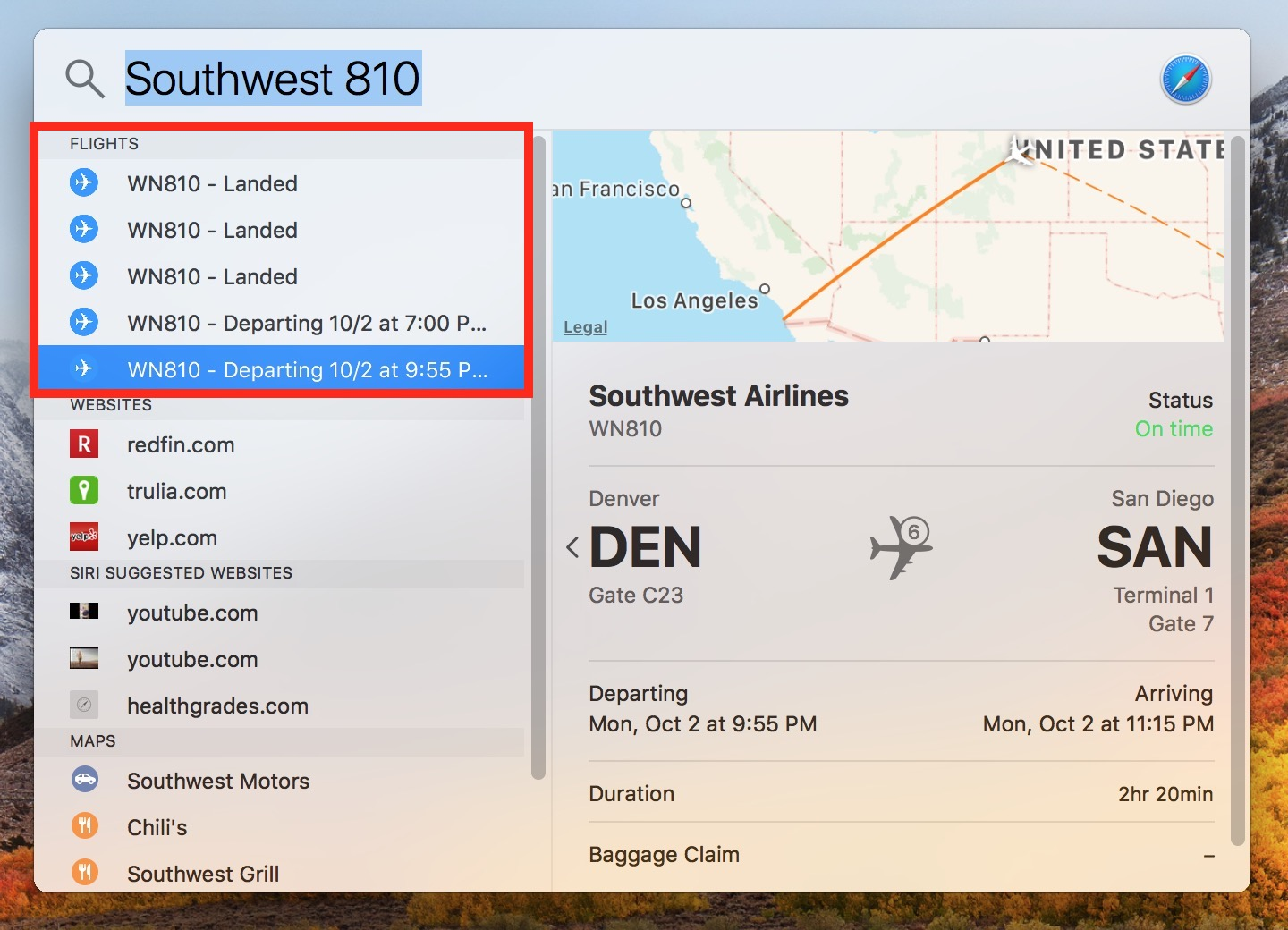 macOS High Sierra Spotlight Window showing flight search results