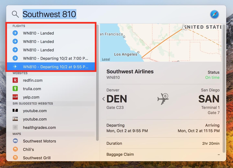 macOS High Sierra Spotlight Window showing flight search results