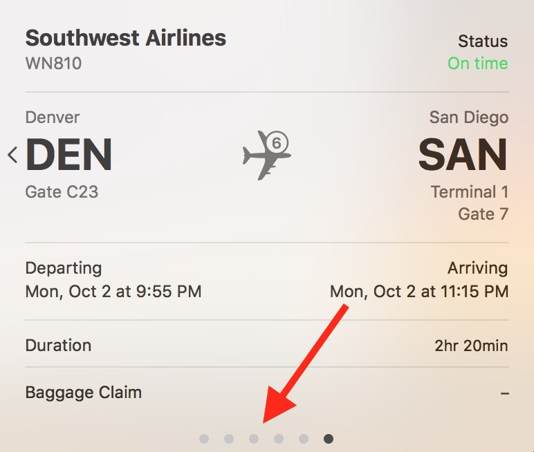 Pips on Info Window showing more information is available from macOS High Sierra Spotlight flight search results
