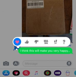 Double-tap a message bubble to respond with a Tapback.