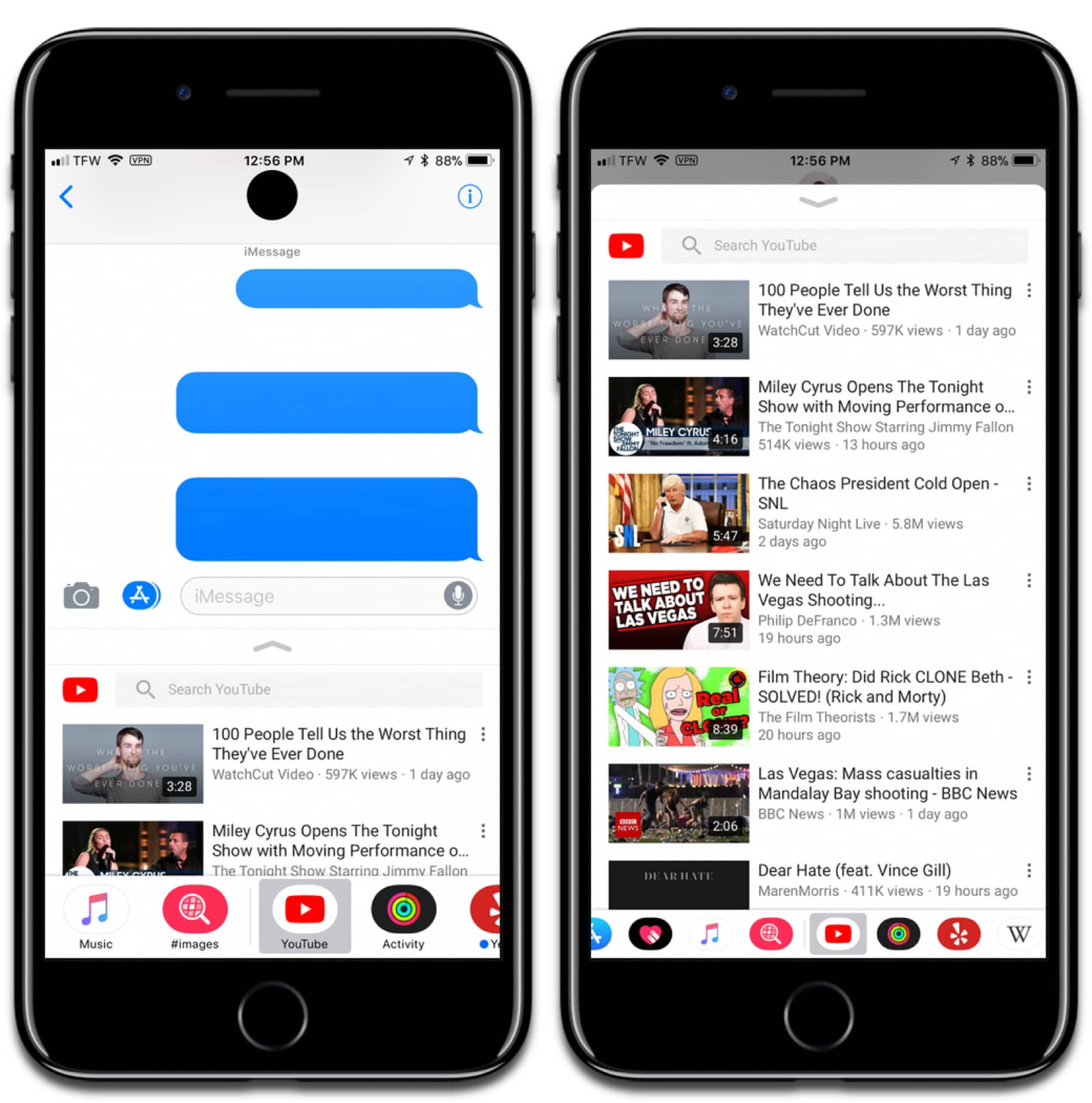 Screenshots of YouTube for iOS. Searching for videos in iMessage by typing or voice.