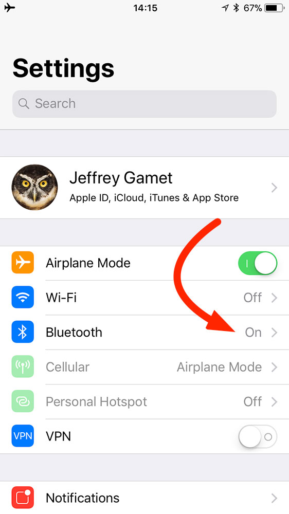 iOS 11 settings for Airplane Mode and Bluetooth