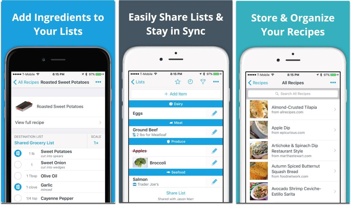 Screenshots of AnyList, one of the grocery apps.