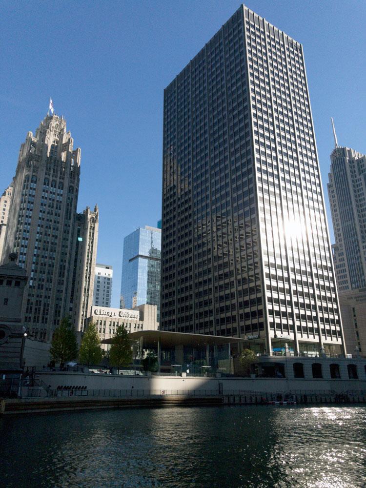 Apple Michigan Ave is nestled between skyscrapers
