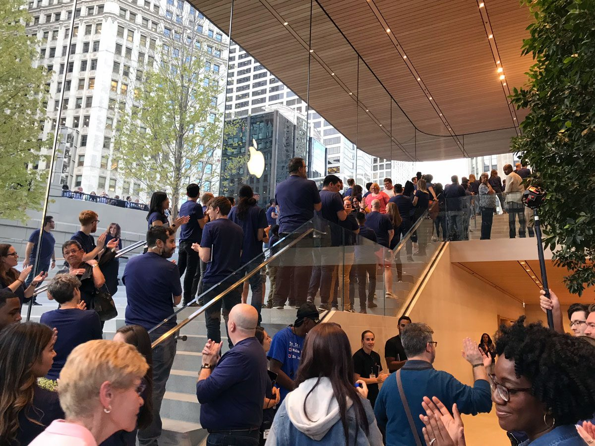 Granite stairways connect the two levels of Apple Store Michigan