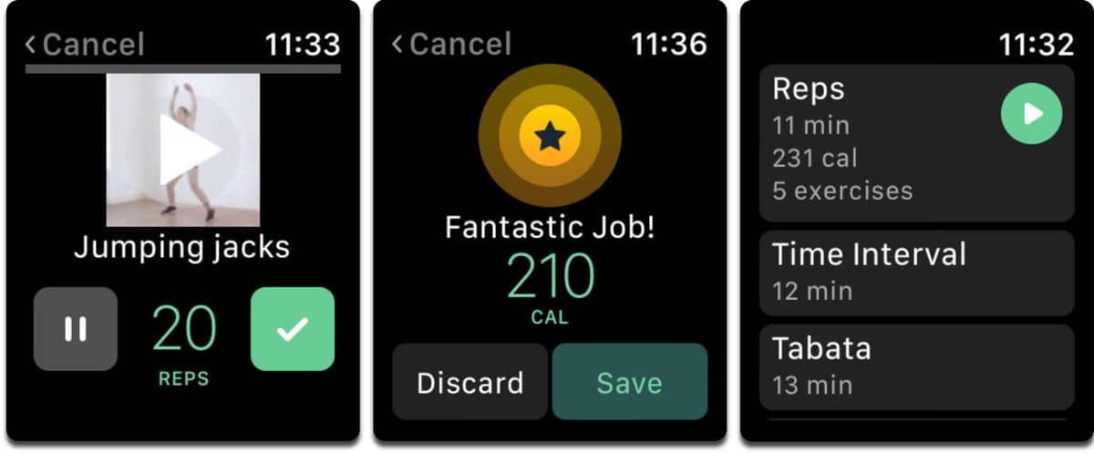 Screenshots of Apple Watch fitness app 8fit.