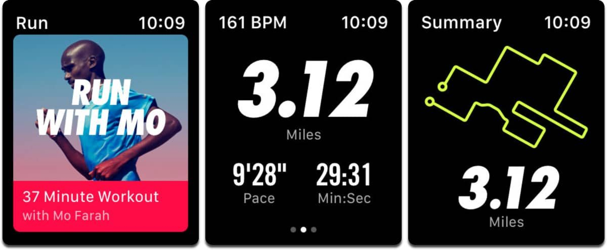Screenshots of Apple Watch fitness app Nike+.