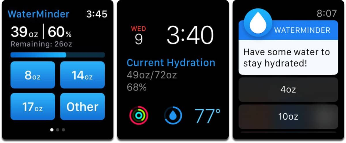 Screenshots of Apple Watch fitness app WaterMinder.