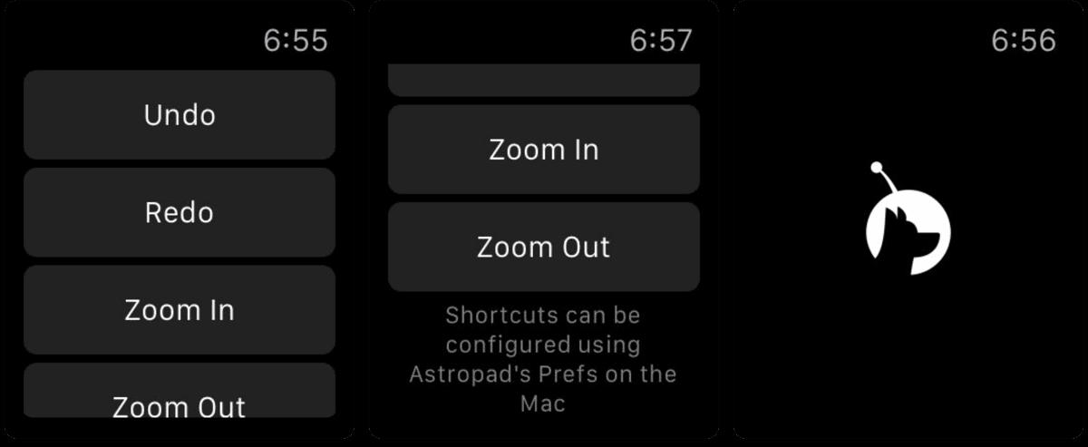 Screenshots of Apple Watch photography app Astropad Mini.