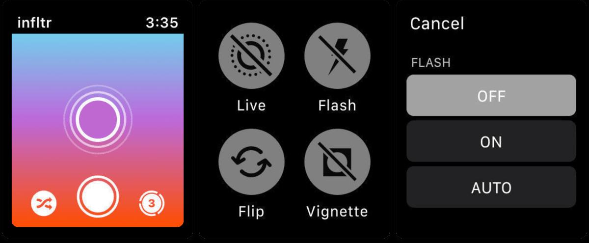 Screenshots of Apple Watch photography app infilter.