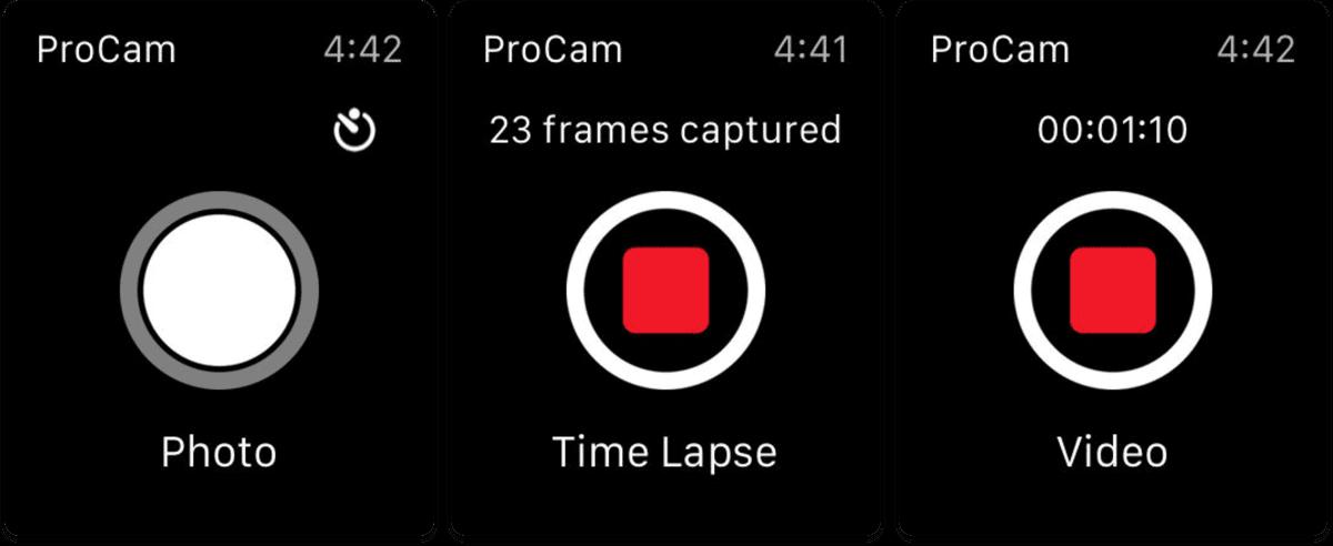 Screenshots of Apple Watch photography app ProCam 5.