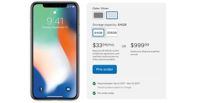 AT&T iPhone X, Shipping November 2nd for Delivery on November 3rd.