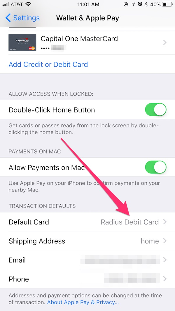apple pay use different card