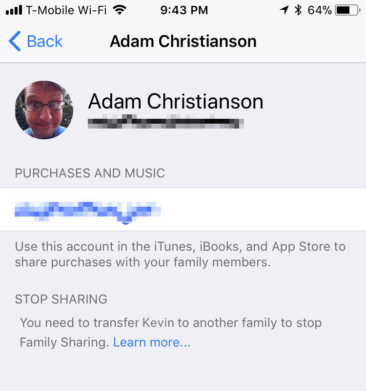 Family Sharing Settings in iOS 11