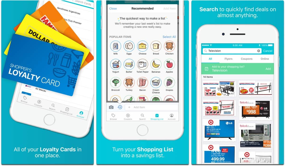 Screenshots of Flipp, one of the grocery apps with coupons.