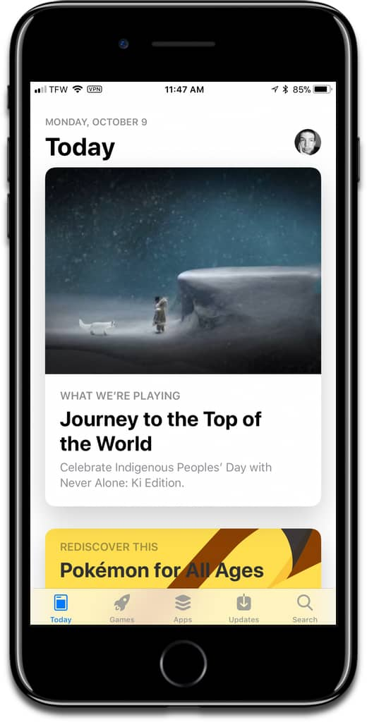 Screenshot of Today tab in iOS 11 App Store. This, along with other features, replaces the free iOS app of the week.