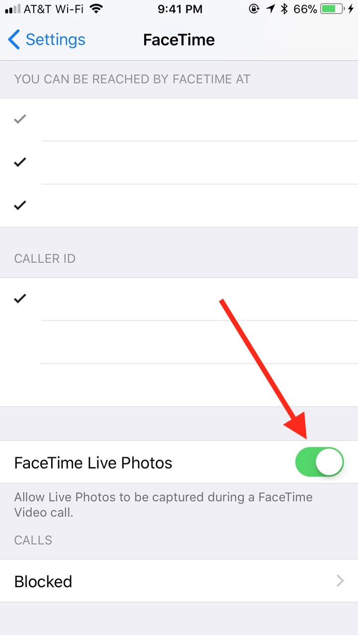 iOS Toggle in FaceTime Settings to disable Live Photos