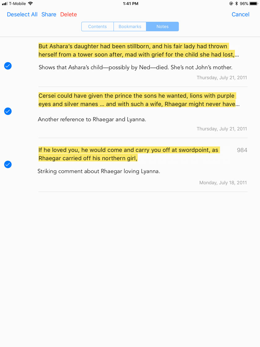 Edit > Select All in iBooks