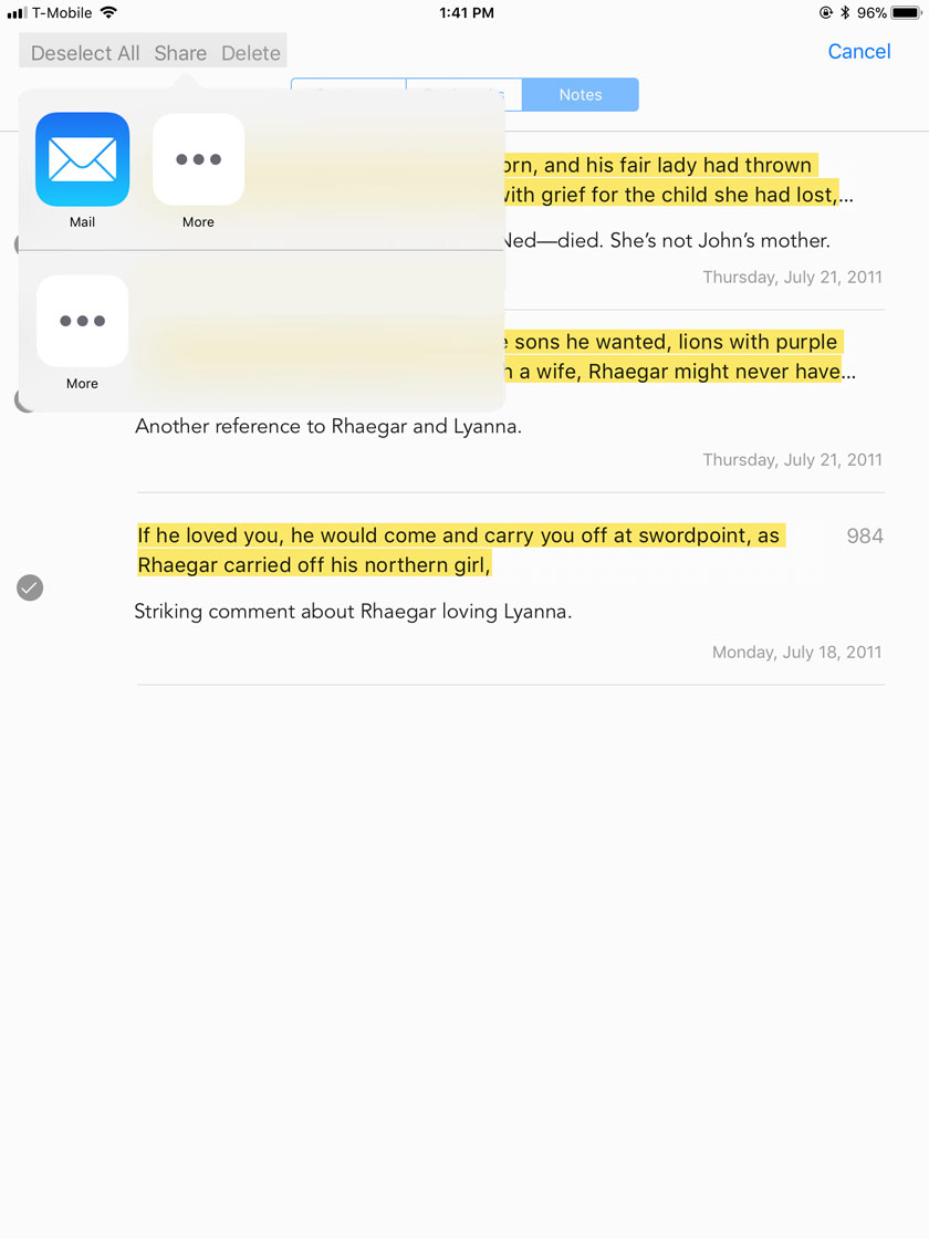 Share Options in iBooks Notes