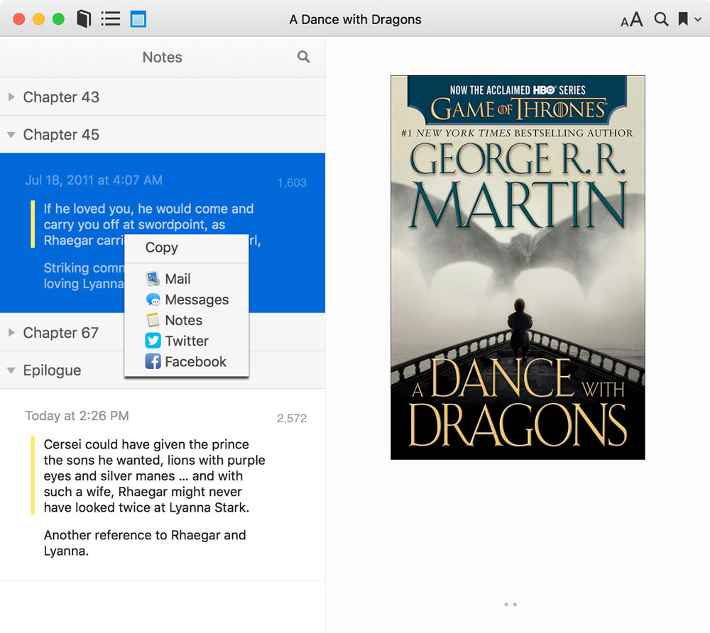 Sharing a Note in iBooks on macOS High Sierra