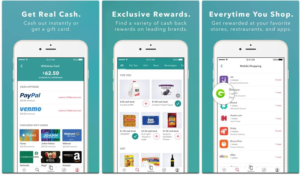Screenshots of Ibotta, one of the grocery apps for coupons.