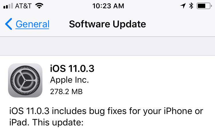 iOS 11.0.3 Screenshot