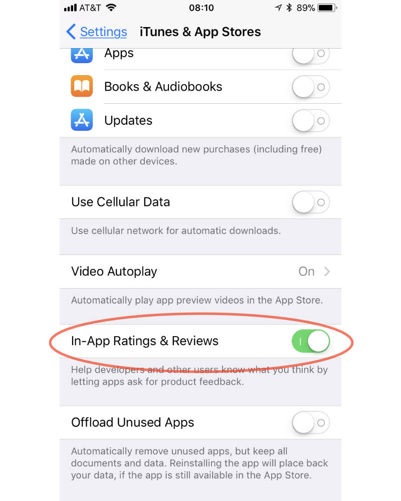 iOS 11 In-App Ratings & Reviews settings
