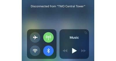 iOS 11 Control Center Wi-Fi and Bluetooth control toggles