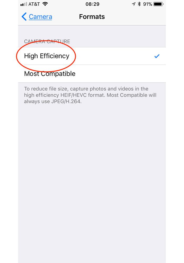 HEIF is the default photo format for iPhone 7 and newer in iOS 11
