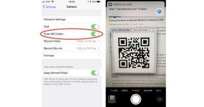 iOS 11 Camera app supports scanning QR codes