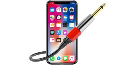 iPhone X with audio cable
