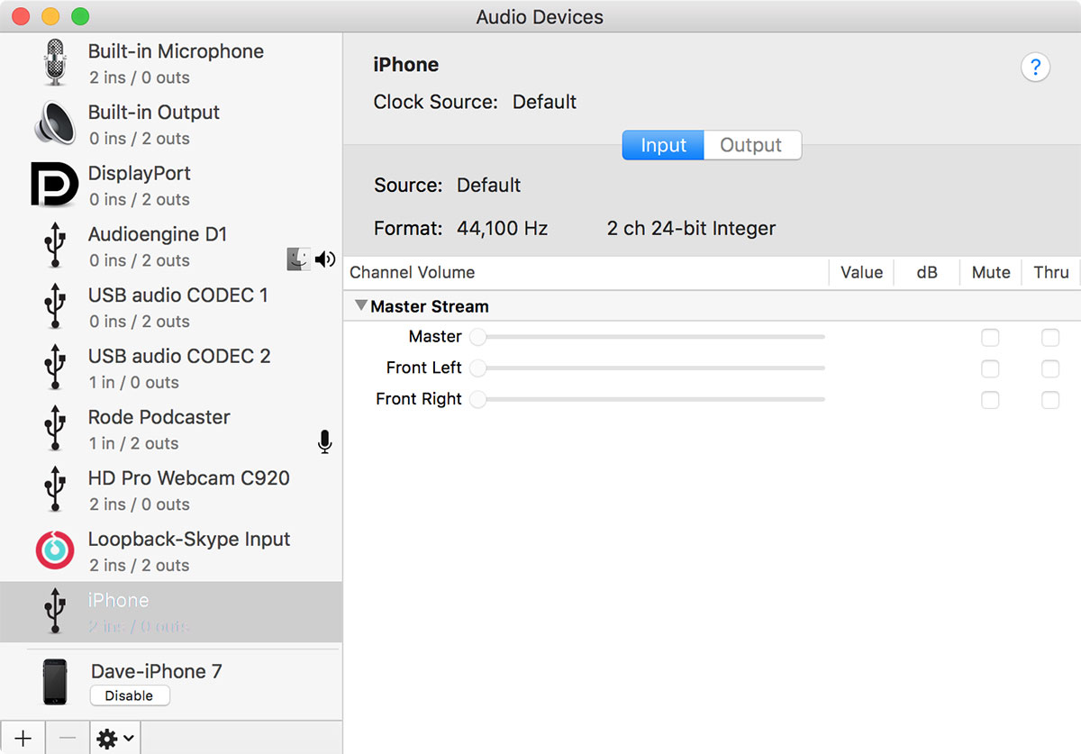 iPhone as audio input for Mac
