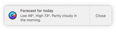 Weather Forecast Notification in iStat Menus 6