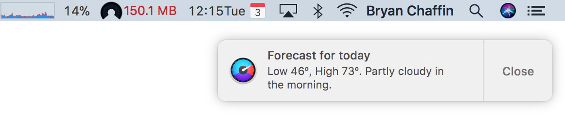 Forecast for Today Notification from iStat Menus 6's Weather feature